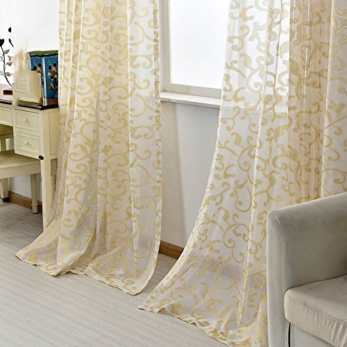 - Pureaqu Golden Silk Luxury Window Curtain for Living Room Rod Pocket Process 1 Panel