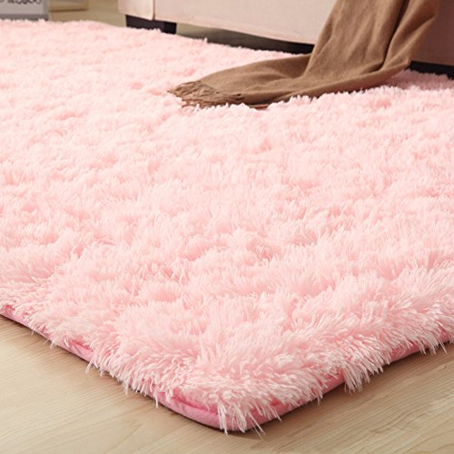 YJ.GWL Soft Pink Shaggy Area Rugs For Girls Room Bedroom