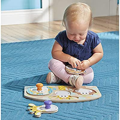 Melissa & Doug First Play Wooden Jumbo Knob Safari Animal Puzzle (3 pcs): Toys & Games