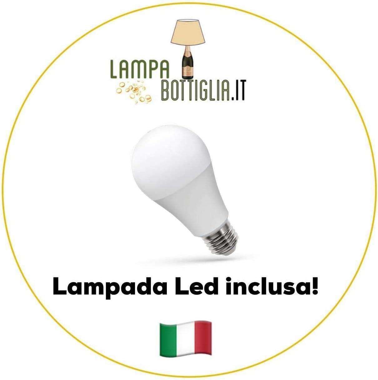 Kit Lampada Bottiglia con Paralume Avorio e Portalampada con filo Trasparente S- Paralume D.20 cm - Portalampada E14 Lampada Led Omaggio