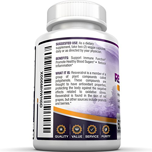 51tyiLHLHuL - BRI Resveratrol - 1200mg Potent Trans-Resveratrol Natural Antioxidant Supplement with Green Tea and Quercetin Promotes Anti-Aging, Heart Health, Brain Function and Immune System