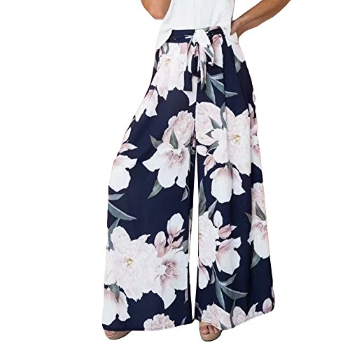JJLIKER Women Floral Print High Waist Lace Up Pants Loose Summer Beach Lounge Full Length Palazzo Trouser Navy