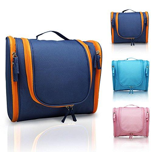 MANUKA Heavy Duty Premium Large Waterproof Hanging Toiletry Bag - Shaving Kit Organizer For Men and Cosmetics Makeup Bag For Women Orange Blue by Manuka Health