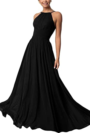 fc70c808b6c Halter Women s Prom Gowns Long Chiffon A-Line Bridesmaid Dresses Evening  Party Black Size 2