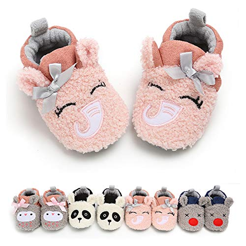 RVROVIC Baby Boys Girls Cozy Fleece Booties with Non Skid Bottom Warm Winter Socks (0-6 Months Infant, W/Pink Elephant)