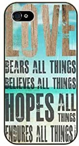 Love bears all things, believes all things, hopes and fenders all things - Bible verse For SamSung Note 4 Case Cover black plastic case / Christian Verses