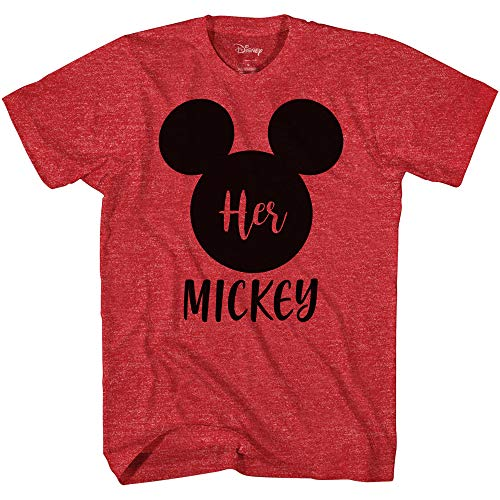 Disney His Minnie Her Mickey Couples Valentines Adult Funny Tee Disneyland Graphic T-Shirt(Heather Red,XXXL)
