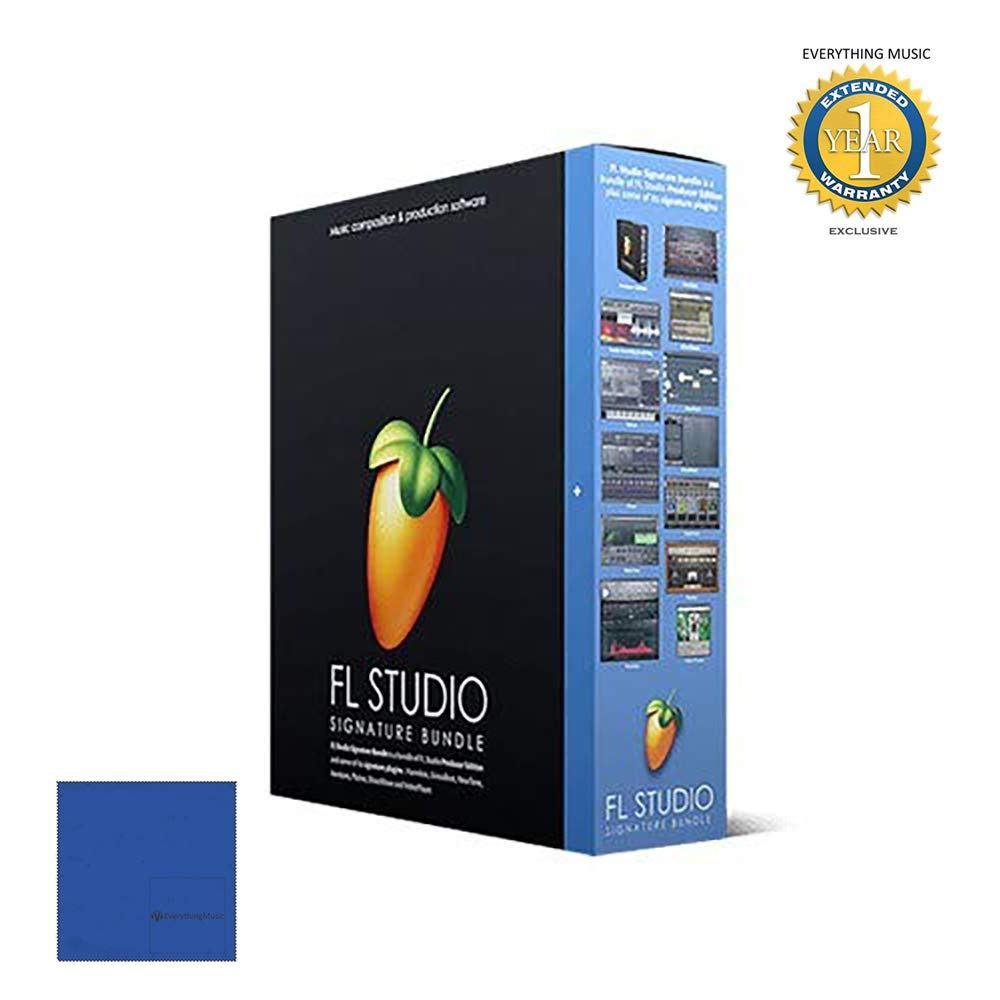 FL Studio 20 Image Line Signature Bundle (Boxed) with Microfiber and 1 Year Everything Music Extended Warranty