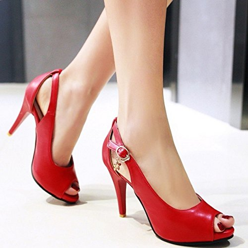 COOLCEPT Women Fashion Peep Toe Court Shoes Clasp Stiletto Shoes Red WLgeTQr