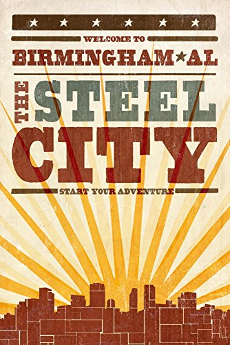 (Birmingham, Alabama - Skyline and Sunburst Screenprint Style (9x12 Art Print, Wall Decor Travel Poster))