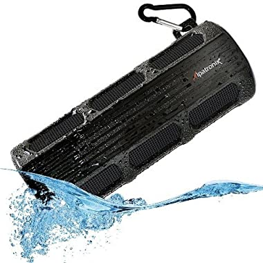 Waterproof Bluetooth Speaker, Alpatronix [AX410: Heavy-Duty & Rugged] Ultra Portable Wireless 12-Watt Stereo Speaker with Shockproof, Dustproof, Splashproof, Water-Resistant Features includes Bluetooth 4.1, Built-In 3000mAh Rechargeable Battery, Enhanced Super BASS with Subwoofer, Built-In Microphone, Speakerphone & Playback Controls [Compatible w/ iPod, iPad, iPhone, Android Devices, Smartphones, Laptops & Desktop PC / Carabiner Included, Fits Easily in Bicycle Water Bottle Cages] - (Black)