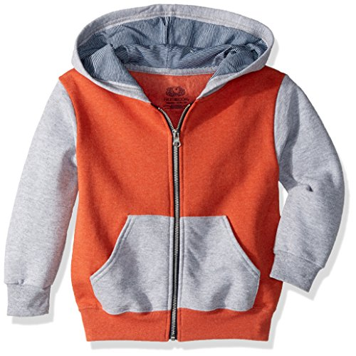 Fruit of the Loom Boys' Big Fleece Full Zip Hoodie Sweatshirt, Mason Orange Athletic Heather/Smoke Blue Stripe, X-Large (Fruit Of Loom Hoodie)