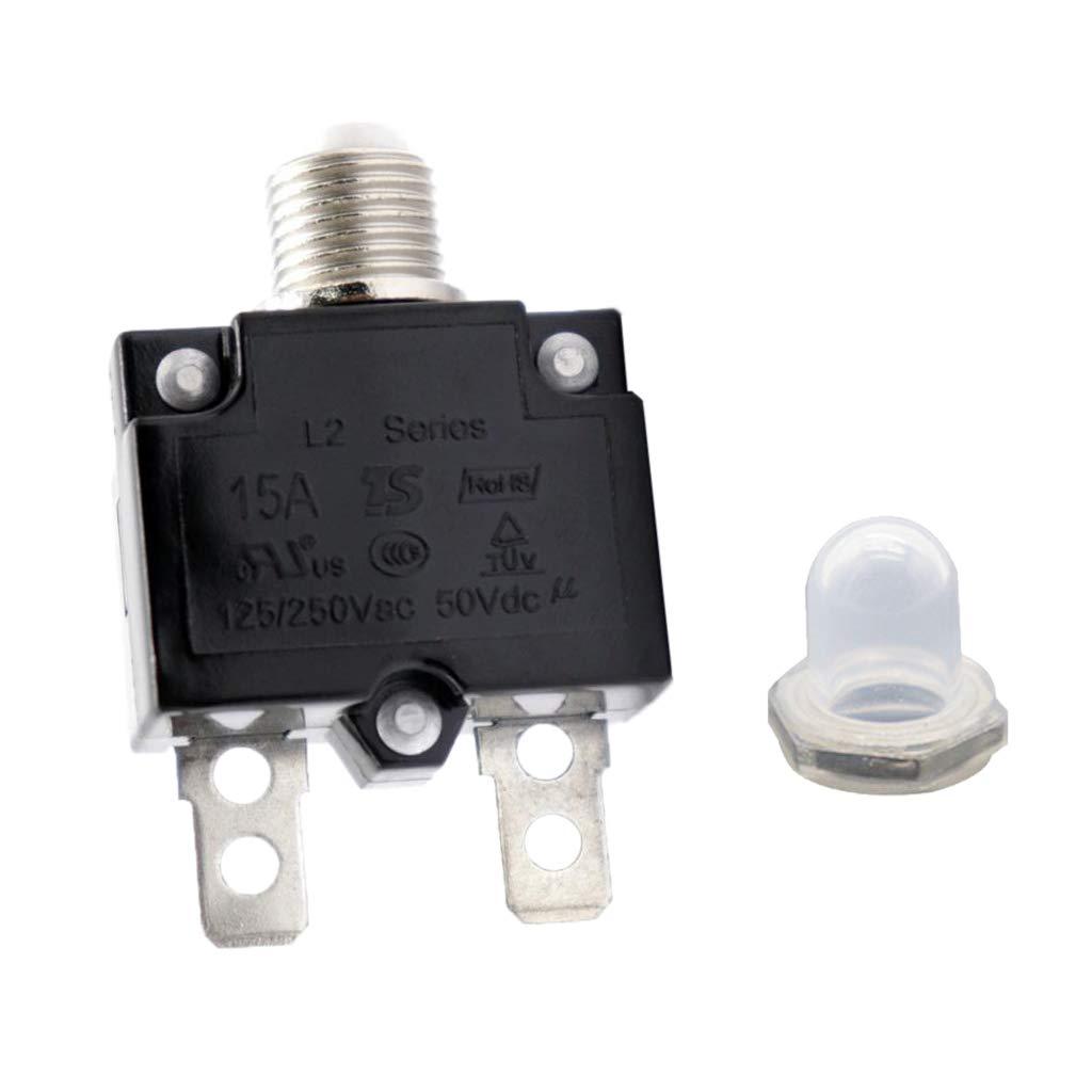 perfk Interrupteur de Disjoncteur Surcharge Thermique Bouton de R/éarmement 5A