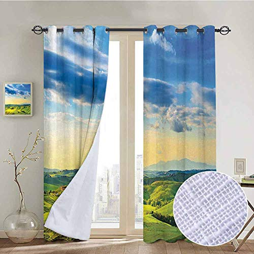 Tuscany Pergola Set - NUOMANAN Grommet Curtains Tuscany,Sunset in Tuscany,Rural Farm Cypresses Trees Sunlight Volterra Italy,Sky Blue Pale Green,Blackout Draperies for Bedroom Window 54