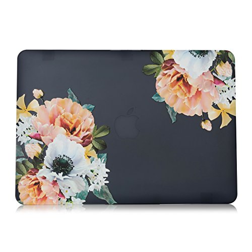 Rnbers Soft-Touch Hard Shell Case Cover for MacBook Air 11 Inch A1370 A1465 - Black Flowers