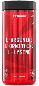 Prozis L-Arginine L-Ornithine L-Lysine:Suplemento puro en cápsulas - 120 cápsulas