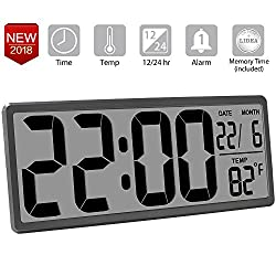 TXL 13.8 inch Jumbo Electronic Alarm Clock Extra Large Digital Wall Clock Display Date/Temperature, Easy To Read Desk & Shelf Clock with 4.6 inch Digits for Seniors Home Office Warehouse, Rifle