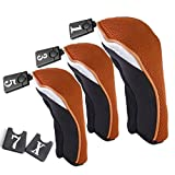 sea-junop 3 Pcs Outdoor Golf Woods Driver Head Protective Cover Set No. 1 3 5(orange)