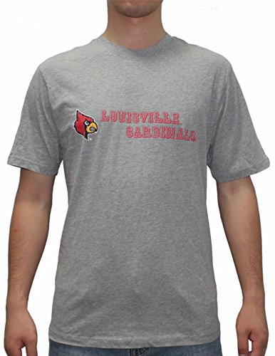 Mens LOUISVILLE CARDINALS Athletic Crew-Neck T-Shirt (Vintage Look) M Grey