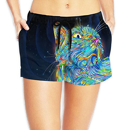 Colored Drawing Cat Women Beach Shorts 3D Printed Casual Pants Sport Hot Boardshort (Catwoman Costume Simple)