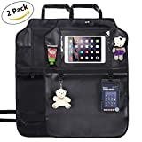 GHB Kick Mats Protector Backseat Organizer with Clear Holder for Touch Screen iPad and Tablets 2 Pack Black