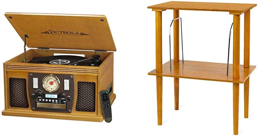 Victrola Wood 8-in-1 Nostalgic Bluetooth Record Player with USB Encoding and 3-Speed Turntable & Wooden Stand with Record Holder