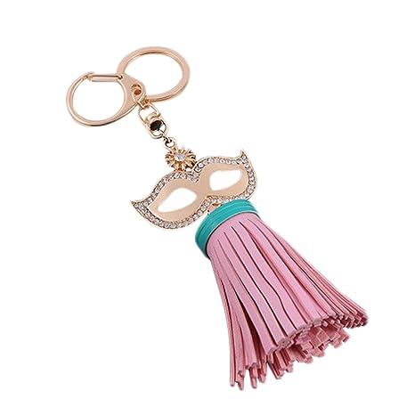 Qifumaer Llavero/Trousseau máscara cinc Bellota Cadena Coche Indio Plumas Net Hanging Keychain Llave decoración