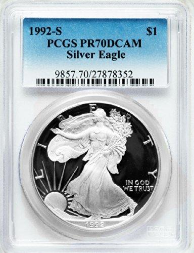 1992 S American Silver Eagle Dollar DCAM PCGS PR70