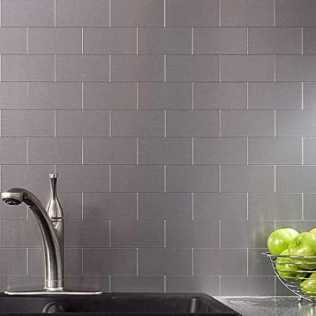 art3d peel and stick metal tile for kitchen backsplash 96 pieces rh amazon co uk peel and stick metal wall tiles backsplash Aspect Peel and Stick Backsplash