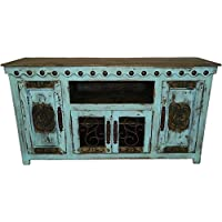Hi End Rustic Medieval Hand Scrape 67 inch TV Stand Available In 9 Colors (Aqua )