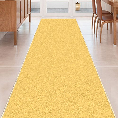 Kapaqua Yellow Solid Plain Rubber Backed Non-Slip Hallway Stair Kitchen Runner Rug Carpet 22in X 5ft (Runner Yellow Carpet)