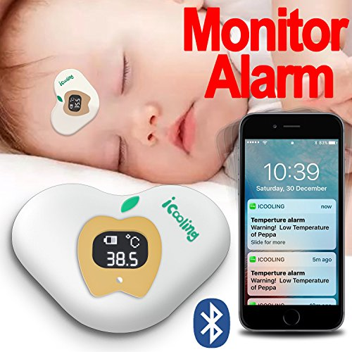 Price comparison product image Bluetooth Smart Digital Thermometers for Fever Wearable on Forehead and Axillary with APP Connecting to Cell Phone FaShaoLe for Monitor and Alarm Applying to Baby, Kid, Infant, Toddler, Children or Adult