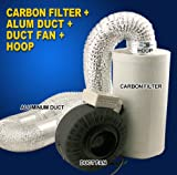New Hydroponics 4'' Inline Duct Tube Exhaust Fan Carbon Filter Kit 190CFM