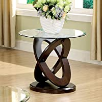 Round End Table for Living Room Furniture of America Evalline Features Glass Top and Base with Crossing Oval Designs Wood Framed, Walnut Finish