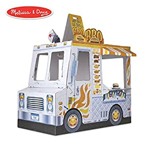 Buy A Food Truck >> Melissa Doug Food Truck Indoor Playhouse Corrugate Ice Cream And Barbecue Truck Nearly 4 Feet Long