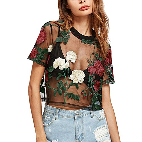 (RARITYUS Women Sexy Floral Embroidery Mesh T-Shirt Tulle Short Sleeve See Through Crop Tops)