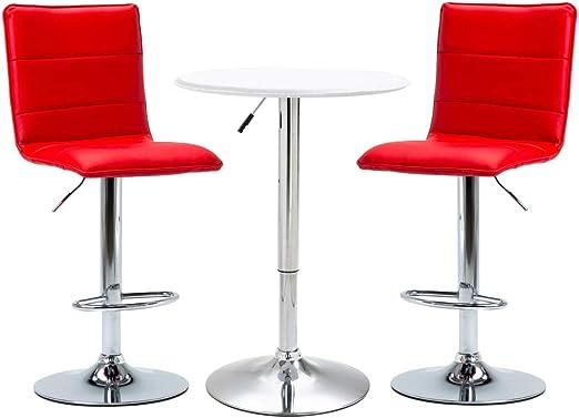 vidaXL Set Mesa Alta y Taburetes de Bar 3 Piezas Cuero Sintético Hogar Jardín Salón Cocina Bricolaje Decoración Diseño Mobiliario Muebles Blanco: Amazon.es: Hogar