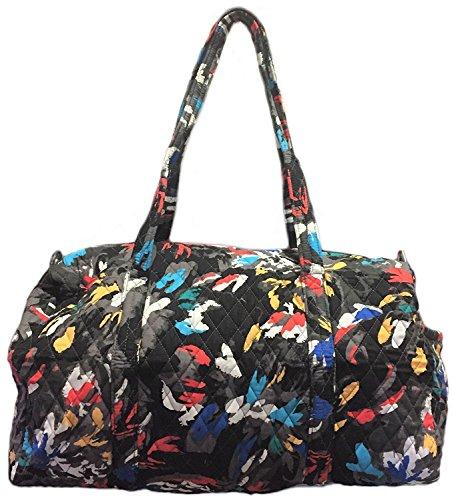 Floral Quilted Bag - Vera Bradley Large Duffel Bag (Splash Floral with Solid Blue Lining)