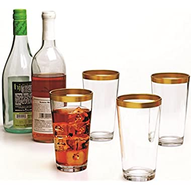 Gold Rimmed Clear Glass Drinking Glasses Set, 17 Ounce, Set of 4, Limited  Villa Maria  Edition Glassware Juice Beer Beverage Water Cups By Circleware