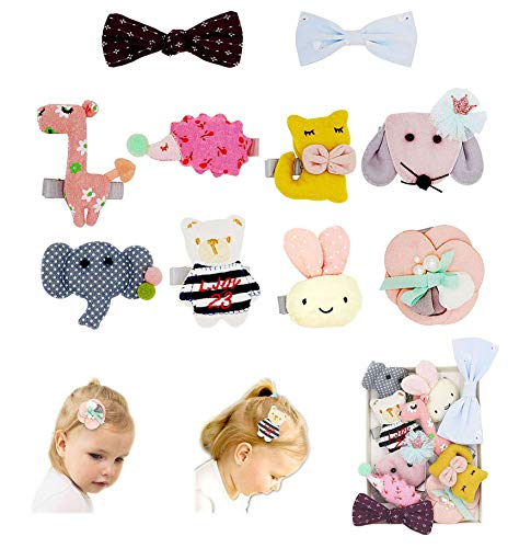 Fancy Clouds Girls Hair Bows flowers clips Barrettes,Lined Alligator,Hair Accessories for Baby Toddler Kids (animal) ()