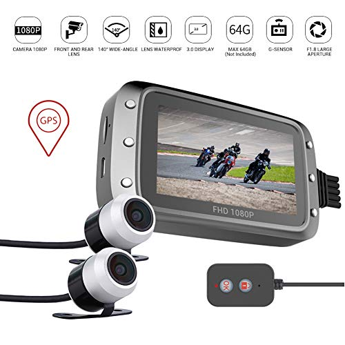 WXCC Motorcycle Dash Cam,IP68 Waterproof Motorcycle Security Camera with Dual Lens Front & Rear View 3