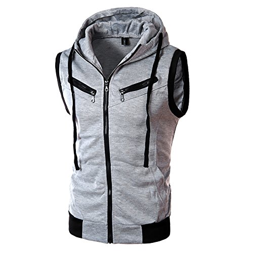 Fashion Men's Summer Casual Hooded Pure Color T-Shirt Sleeveless Hoodie Tops Gray]()