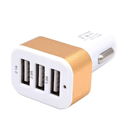 Uzinb DC 5.0V 2.1A Adaptador / 2A / 1A Coche Universal 3 Puertos USB Cargador de teléfono de Carga rápida Enchufe USB