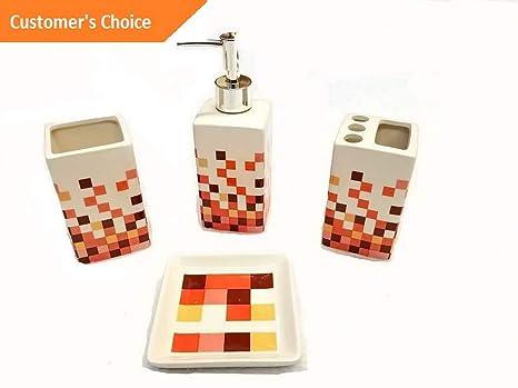 Geometric Design 4 Piece Elegant Ceramic Bathroom Accessory Set