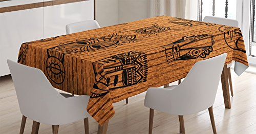 African Decorations Tablecloth by Ambesonne, Ritual and Ceremonial Native Tribal Cultural Masks Spiritual Religious Art Print, Dining Room Kitchen Rectangular Table Cover, 60 X 90 (Native Art Masks)