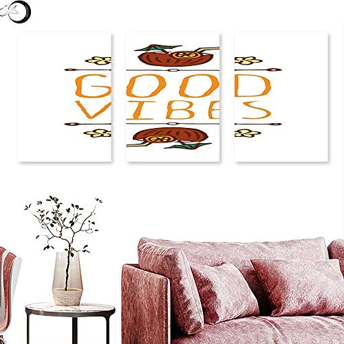 Good Vibes Living Room Home Office Decorations Hand Sketch Style Summer Elements Coconut Cocktail Drinks and Flowers Wall painting Orange Redwood Green triptych art canvas W 12