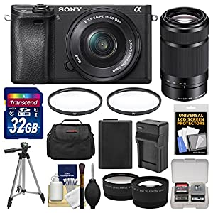 Sony Alpha A6300 4K Wi-Fi Digital Camera & 16-50mm with 55-210mm Lens + 32GB Card + Case + Battery & Charger + Tripod + Filters + Kit