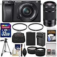 Sony Alpha A6300 4K Wi-Fi Digital Camera & 16-50mm & 55-210mm Lenses (Black) with 32GB Card + Case + Battery & Charger + Tripod + Filters + Kit
