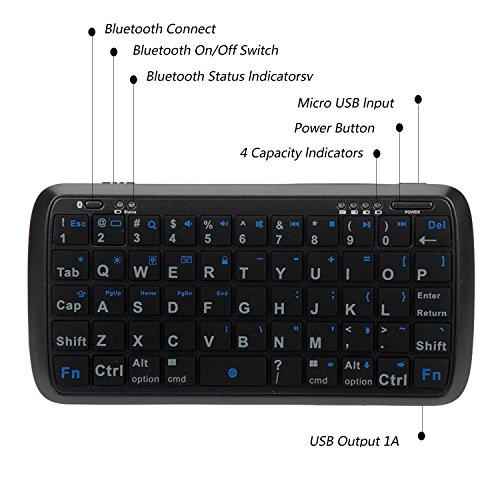 Mini Bluetooth Keyboard Portable, eJiasu Handheld Wireless Keyboard Travel Keyboard with Rechargable 4000mAh Power Bank for Apple iPhone 8/7 plus/6 plus/6/5s/5 Android Smartphone (Black) by eJiasu (Image #3)