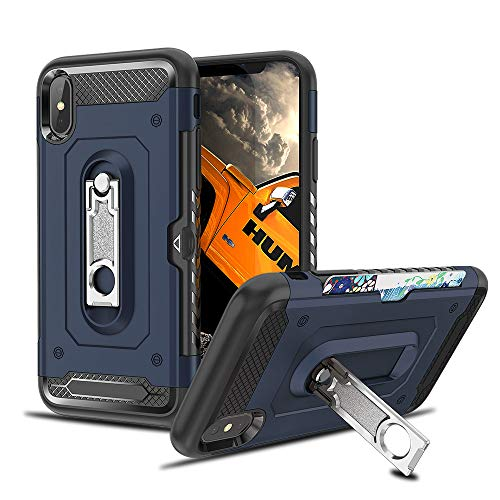 MMHUO Compatible with iPhone Xs Max Case Dual Layers Wallet Card Slot Kickstand Anti-Scratch Hybrid Shockproof Hard PC Cover Soft TPU Bumper Protective Case for iPhone XS Max 6.5 (2018) - Blue